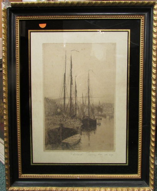 Lot 37 - After Richard Toovey - sailed barges at quayside, etching endorsed in pencil (30cm x 20cm) F&G