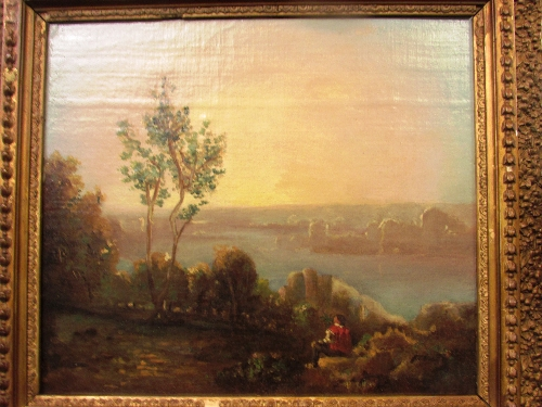 Lot 55 - 19th century oil on canvas of riverside with figure to foreground (perhaps the Thames near