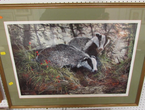 Lot 32 - After Dorothea Hyde - limited edition reproduction colour print of badgers, signed and numbered