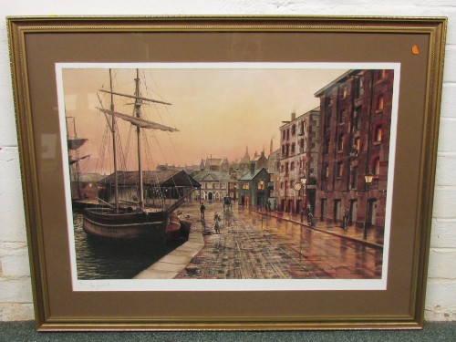 Lot 43 - After Peter Goodhall - 'Exeter Quay by Gaslight', limited edition colour print published by Heritage