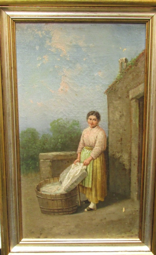 Lot 53 - Late 19th century oil on canvas of young woman at wash tub (31cm x 17cm) in a modern frame, the