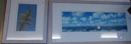 Lot 35 - Robert Jones - two framed oils on paper - 'Gorse II', initialled RJ lower right (27.5cm x 16.5cm),