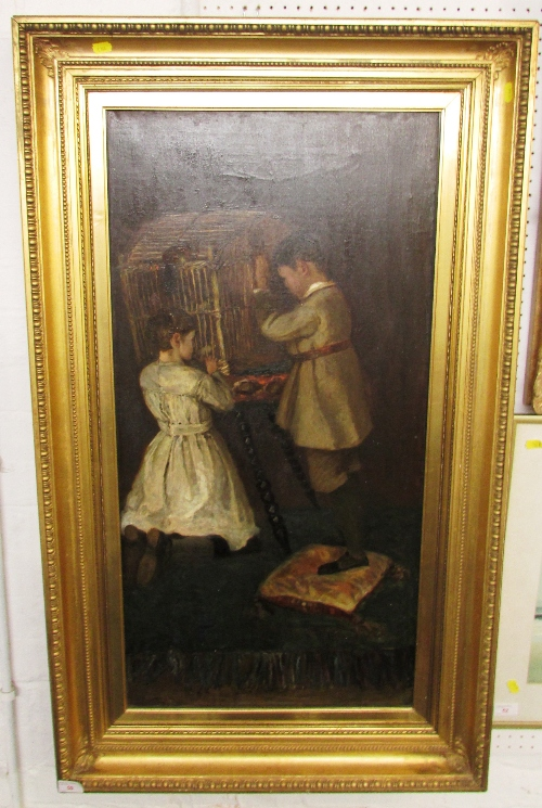 Lot 50 - Boy and girl with bird cage and red squirrel, 19th century oil on canvas (91cm x 45cm), in a