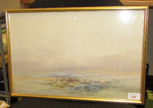 Lot 46 - Charles Edward Brittan (1870-1949) - moorland and sheep in mist, watercolour, (28cm x 44cm), F&G