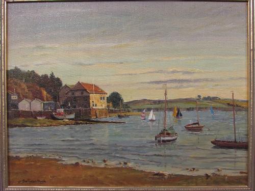 Lot 49 - Sullivan Pugh - 'Calm Evening, Rock, Cornwall', oil on canvas (34cm x 44cm), framed, title label