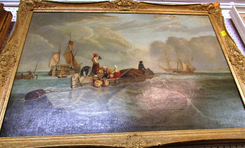 Lot 51 - Oil on canvas seascape showing tender with passengers and ships flying tricolour flags beyond (48.