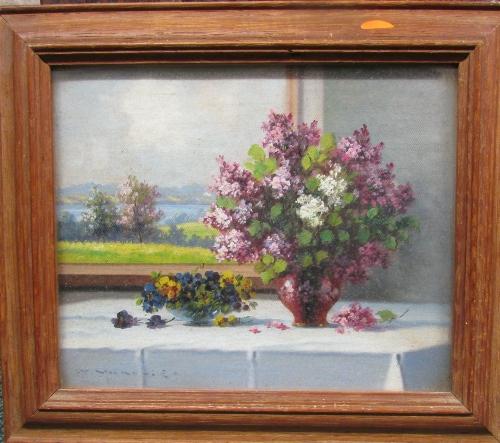 Lot 57 - Two still life oil paintings, signed K. Vakavig (each 18cm x 22cm) glazed and in oak frames