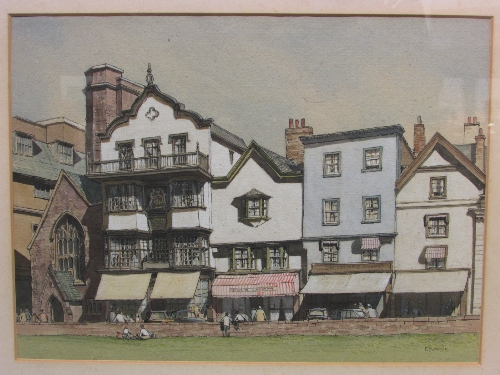 Lot 36 - E W Moye (20th century) - two pen and watercolours: 'Mol's Coffee House, Exeter' (28cm x 37.5cm) and
