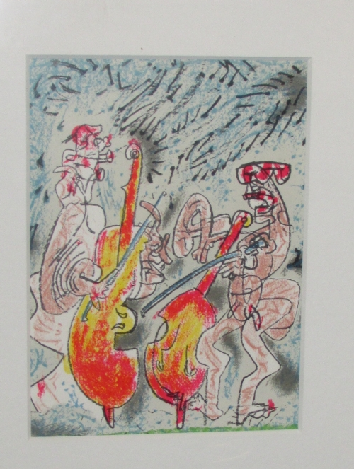 Lot 4 - After Roberto Matta (1911-1952) - cello players, offset lithograph (24.5cm x 18cm), glazed and in
