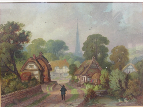 Lot 34 - An unsigned oil painting of village scene with steeple beyond, probably late 19th/early 20th