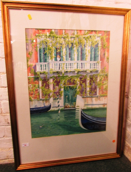 Lot 60 - Michael Bishop (b1957) - Venetian house and gondolas, watercolour, signed lower left (61cm x 46cm)