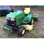 John Deere 425 Garden Tractor c/w 54in Mower, Front Weights, & 3pt PTO Rototiller.