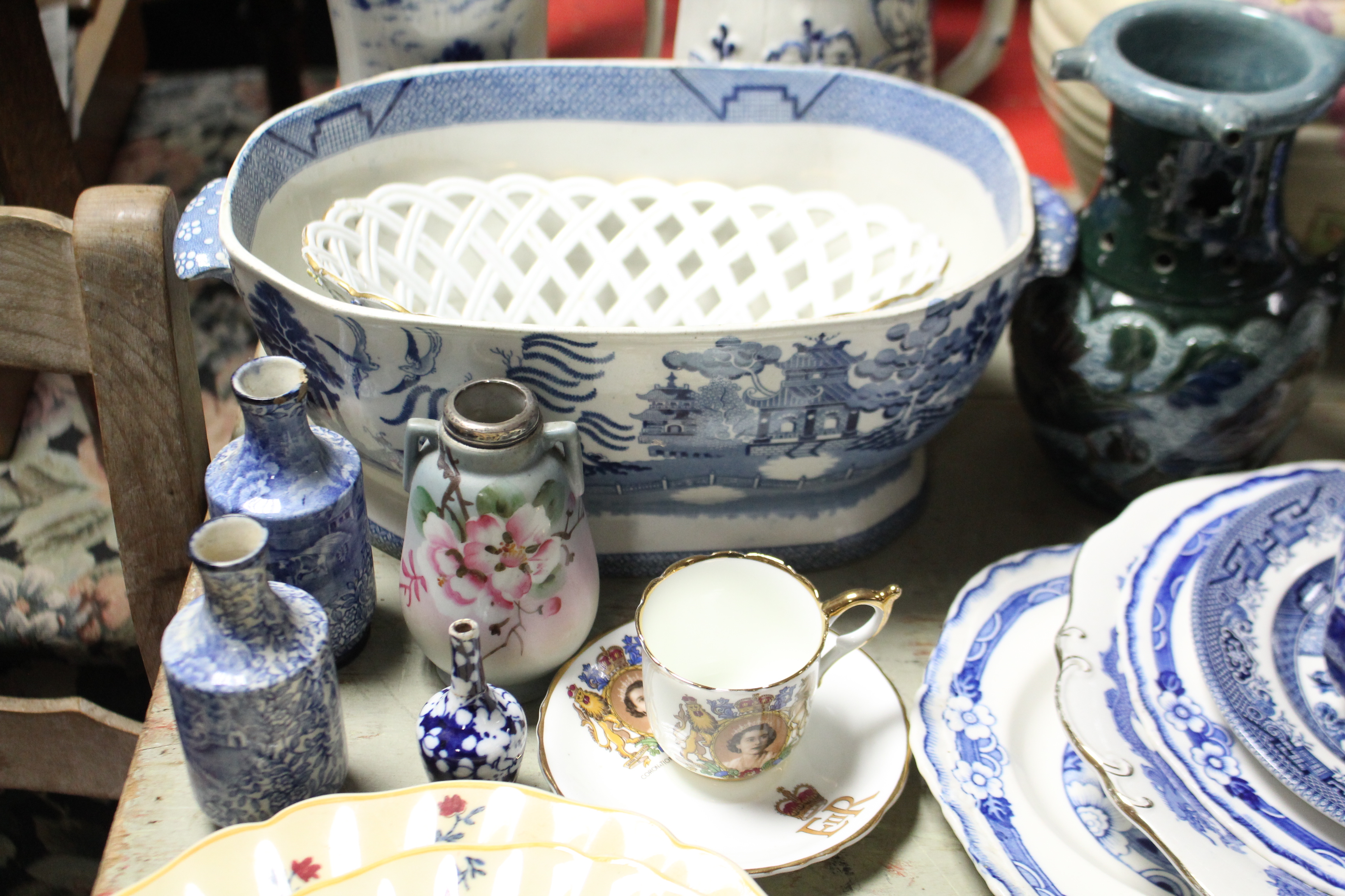 """Lot 191 - A Kensington ware floral decorated large jug, 7¾"""" high; a pair of cauldron blue & white decorated"""