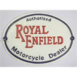 """A reproduction painted cast-iron oval sign """"Authorised ROYAL ENFIELD Motorcycle Dealer"""", 8"""" x 11""""."""