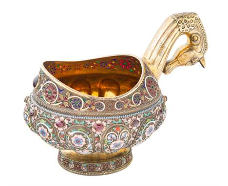 A RUSSIAN FABERGE-STYLE SILVER AND SHADED CLOISONNE ENAMEL KOVSH, LATE 20TH CENTURYof partly lobed form, with horse head hand