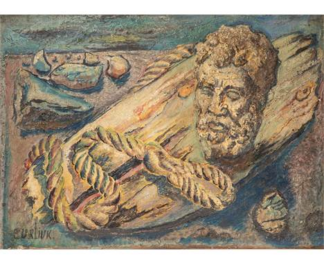 DAVID BURLIUK (RUSSIAN 1882-1967)Driftwood with Marble Head oil on canvas 33 x 45.5 cm (13 x 17 7/8 in.)  signed lower left P