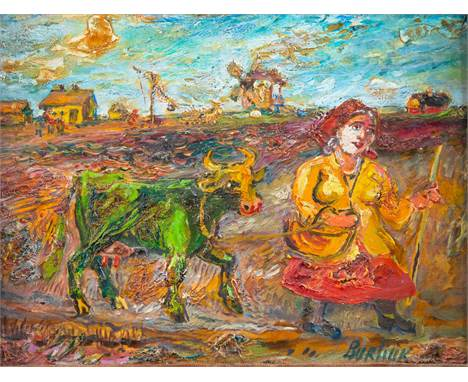 DAVID BURLIUK (RUSSIAN 1882-1967)Woman Leading Green Cow oil on canvas board 25.8 x 30.5 cm (10 1/8 x 12 in.)  signed lower r
