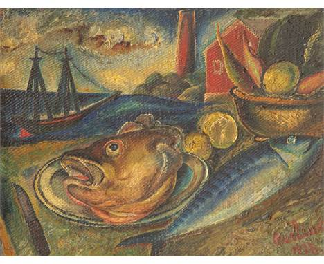 DAVID BURLIUK (RUSSIAN 1882-1967)The Fish and the Boat, 1928 oil on burlap 36 x 46.2 cm (14 1/8 x 18 1/4 in.)  signed and dat