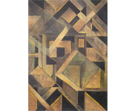 ATTRIBUTED TO MIKHAIL MATIUSHIN (RUSSIAN 1861-1934)Abstract Composition with Crystalline Forms, circa 1920 oil on canvas 69.3
