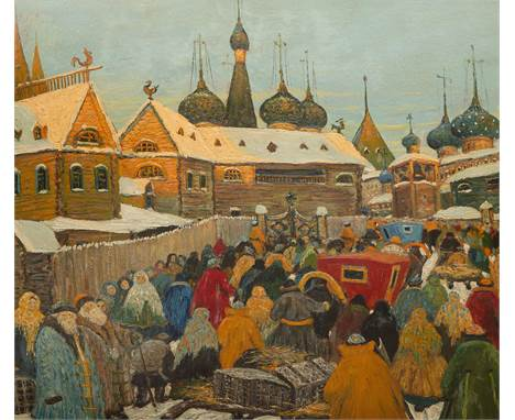 VLADIMIR ARALOV (RUSSIAN 1893-1972)Old Moscow in Winter with view of St. Basil's Cathedral from the back  oil on board 61 x 7