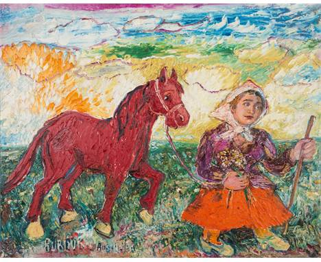 DAVID BURLIUK (RUSSIAN 1882-1967)Woman with Horse oil on canvas board 60.5 x 76 cm (23 7/8 x 29 7/8 in.)  signed and titled l