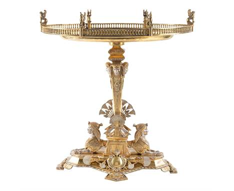 A RUSSIAN GILT SILVER CENTERPIECE, SIGNED SAZIKOV, ST. PETERSBURG, 1851in Egyptian Revival taste, formed as a tapering obelis
