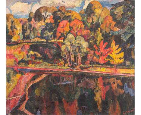 ABRAHAM MANIEVICH (RUSSIAN 1883-1942)Autumn Landscape oil on canvas 83 x 93 cm (32 5/8 x 36 5/8 in.) signed lower right PROVE