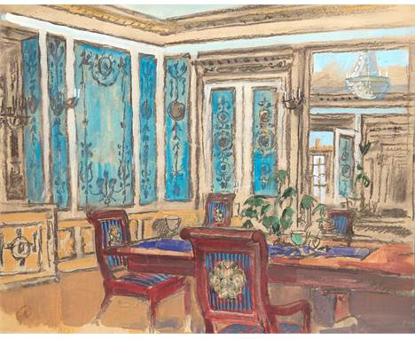 MSTISLAV DOBUZHINSKY (RUSSIAN-LITHUANIAN 1875-1957)Interior with Blue Walls pencil, watercolor and gouache on paper 37.2 x 47