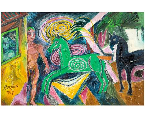 DAVID BURLIUK (RUSSIAN 1882-1967)Carousel oil on burlap 51 x 77 cm (20 1/8 x 30 1/4 in.) signed and dated 1917 lower left PRO