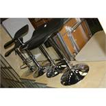 FOUR MODERN BACK AND CHROME BAR STOOLS, with height adjustment up to 80cm and foot supports (s.d)