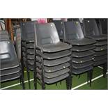 THIRTY NINE GREY PLASTIC STACKING CHAIRS, with black tubular metal legs (s.d)