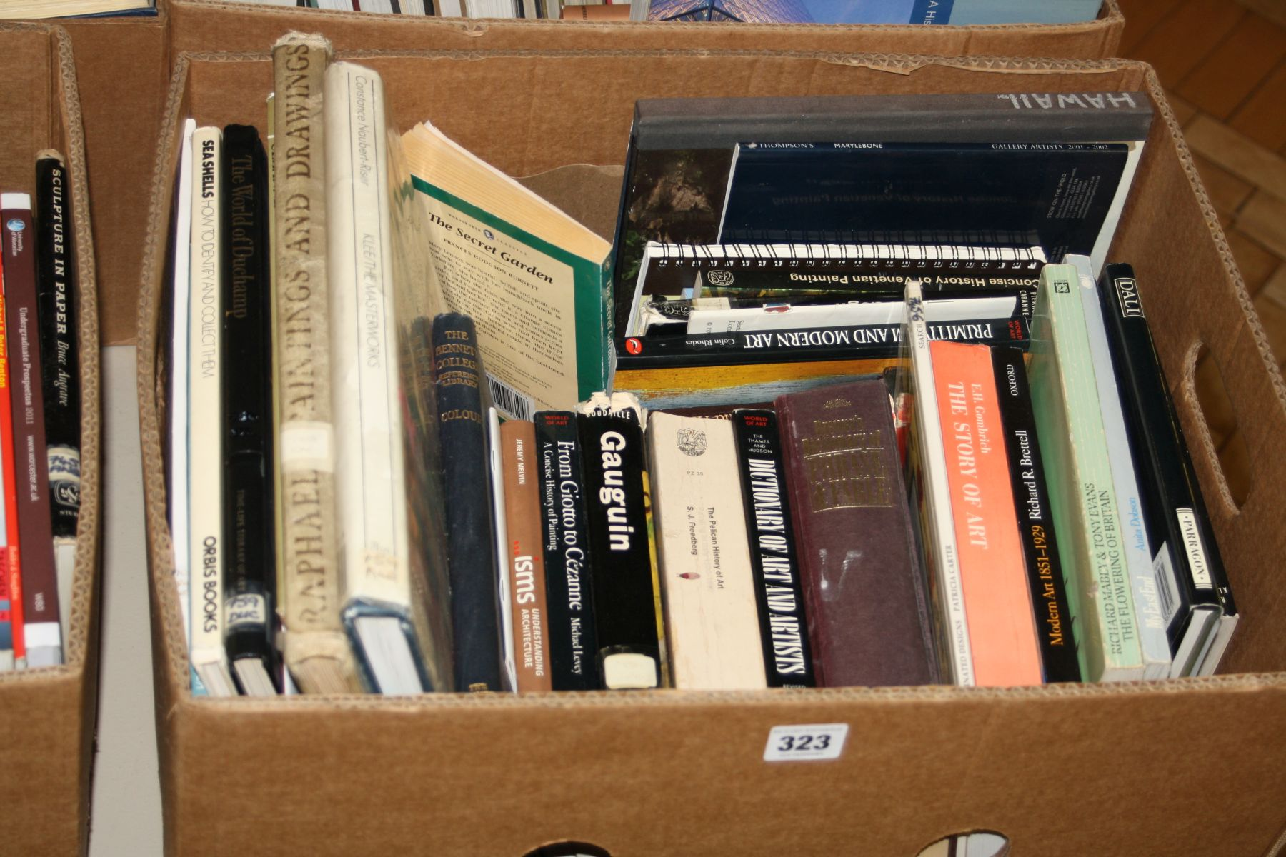 A TRAY CONTAINING BOOKS, on Art and Artists