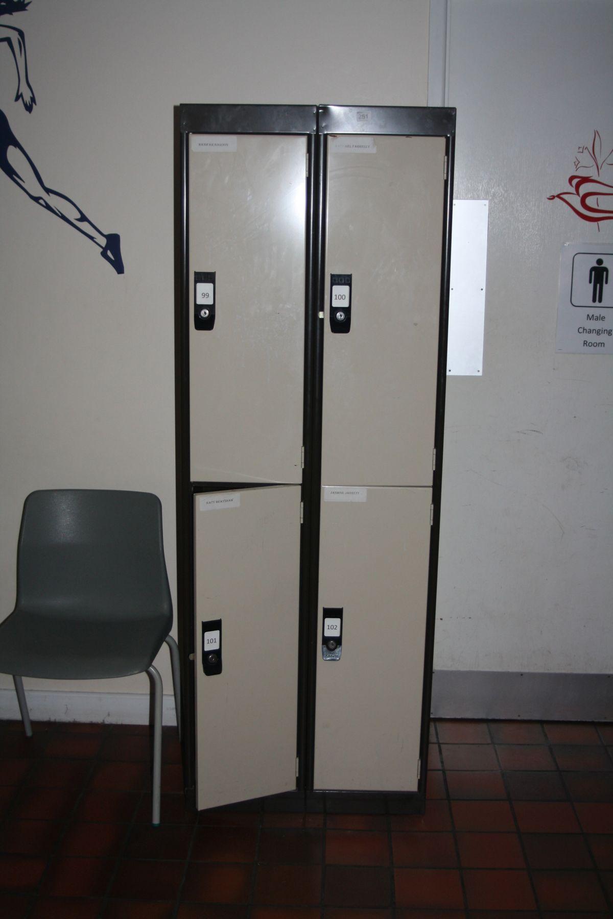 THREE DOUBLE METAL LOCKERS, (six lockers), 90x45x170cm (s.d)