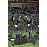 EIGHT BLACK OFFICE CHAIRS, with five castors (s.d)
