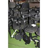 TEN BLACK OFFICE CHAIRS, with five castors (s.d)