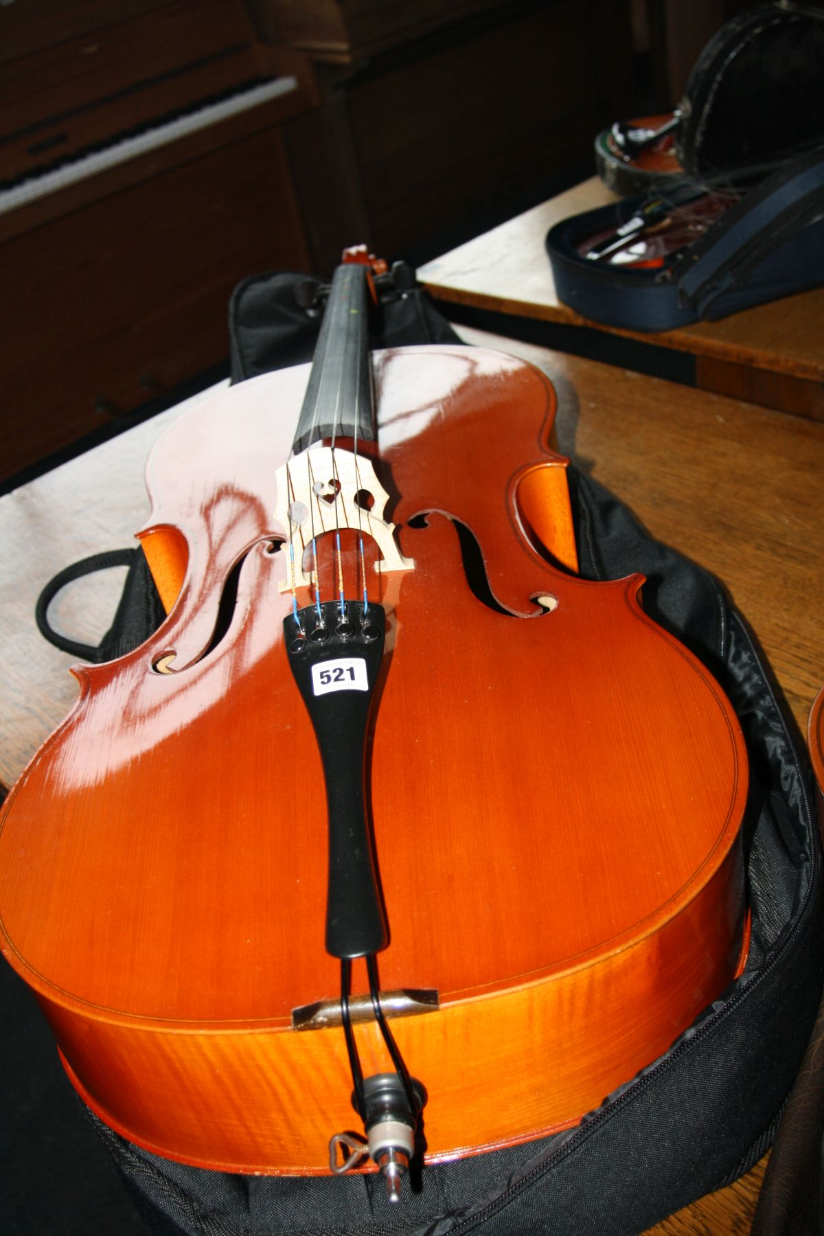 Lot 521 - A VEB MUSIMA FULL SIZE CELLO, with bow and padded case