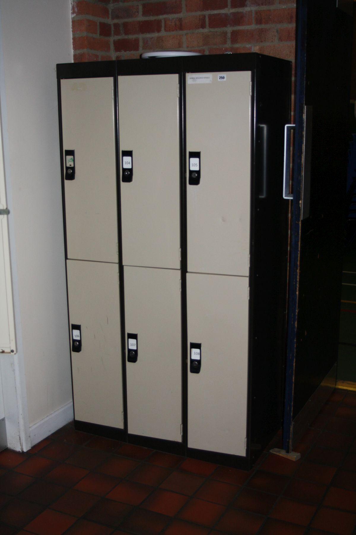 Lot 250 - THREE DOUBLE METAL LOCKERS, (six lockers), 90x45x170cm (s.d)