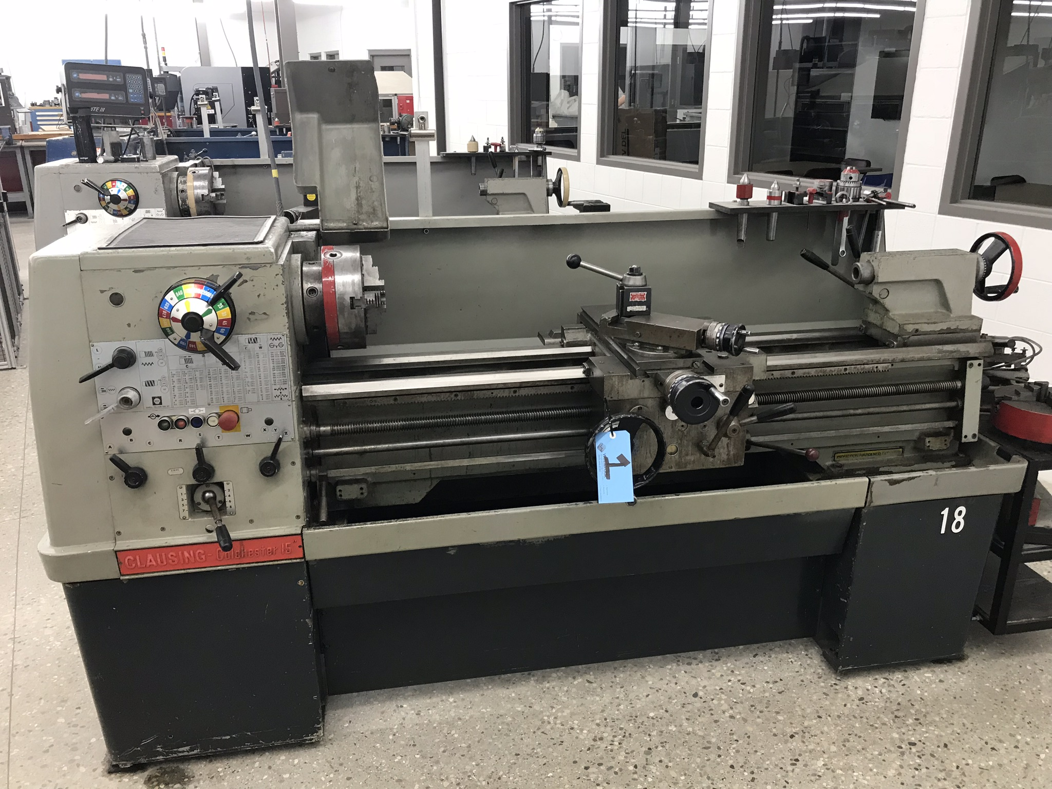 """Clausing Colchester 15"""" x 50"""" Toolroom Lathe 10"""" 3 jaw, 10"""" 4 jaw, Aloris tool post, related Tooling"""