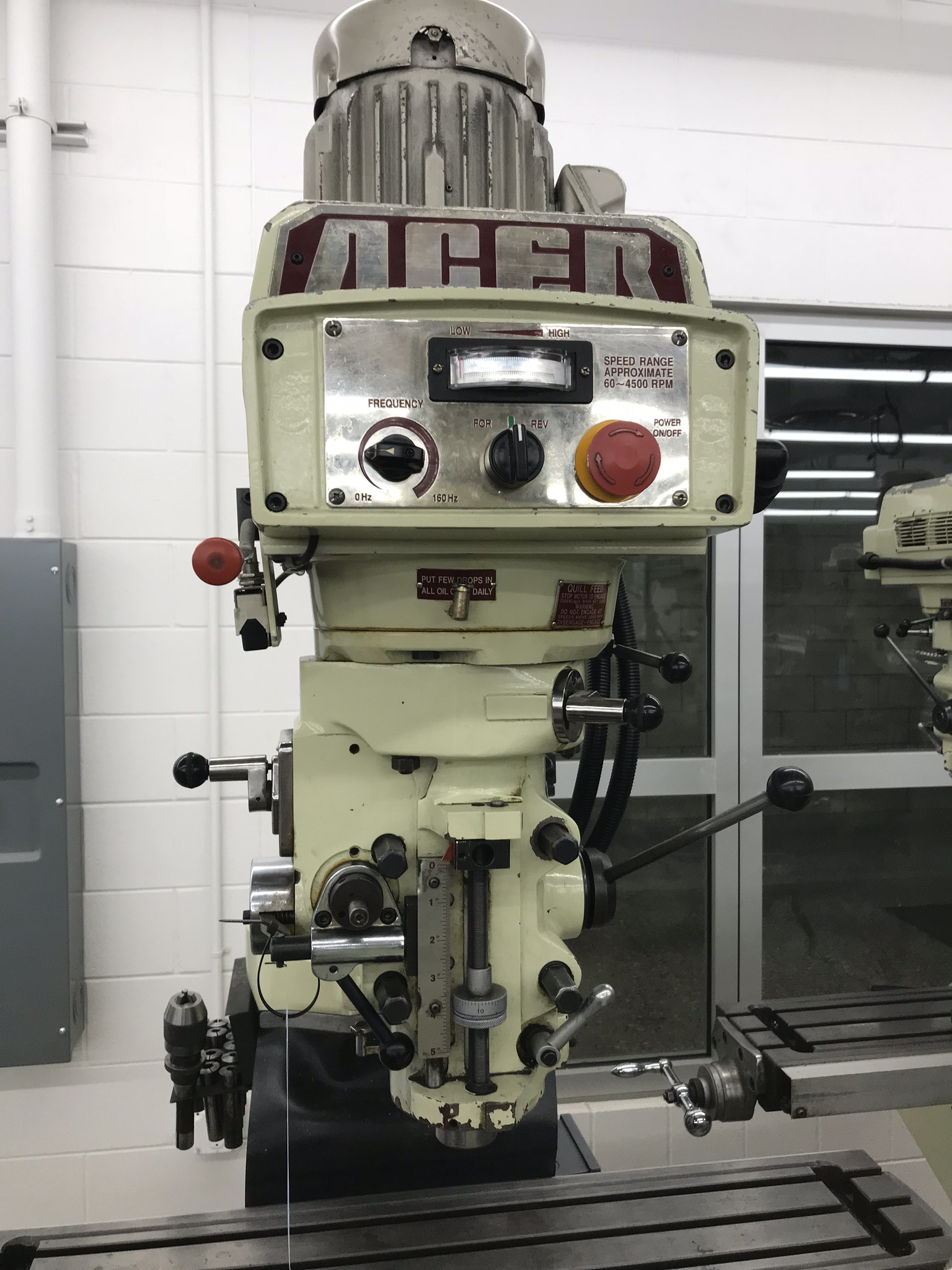 """Acer Vertical Milling Machine Model EVS-3VS, 9"""" x 42"""" Table, Newall DRO, Collets, 60-4500 RPM - Image 3 of 6"""