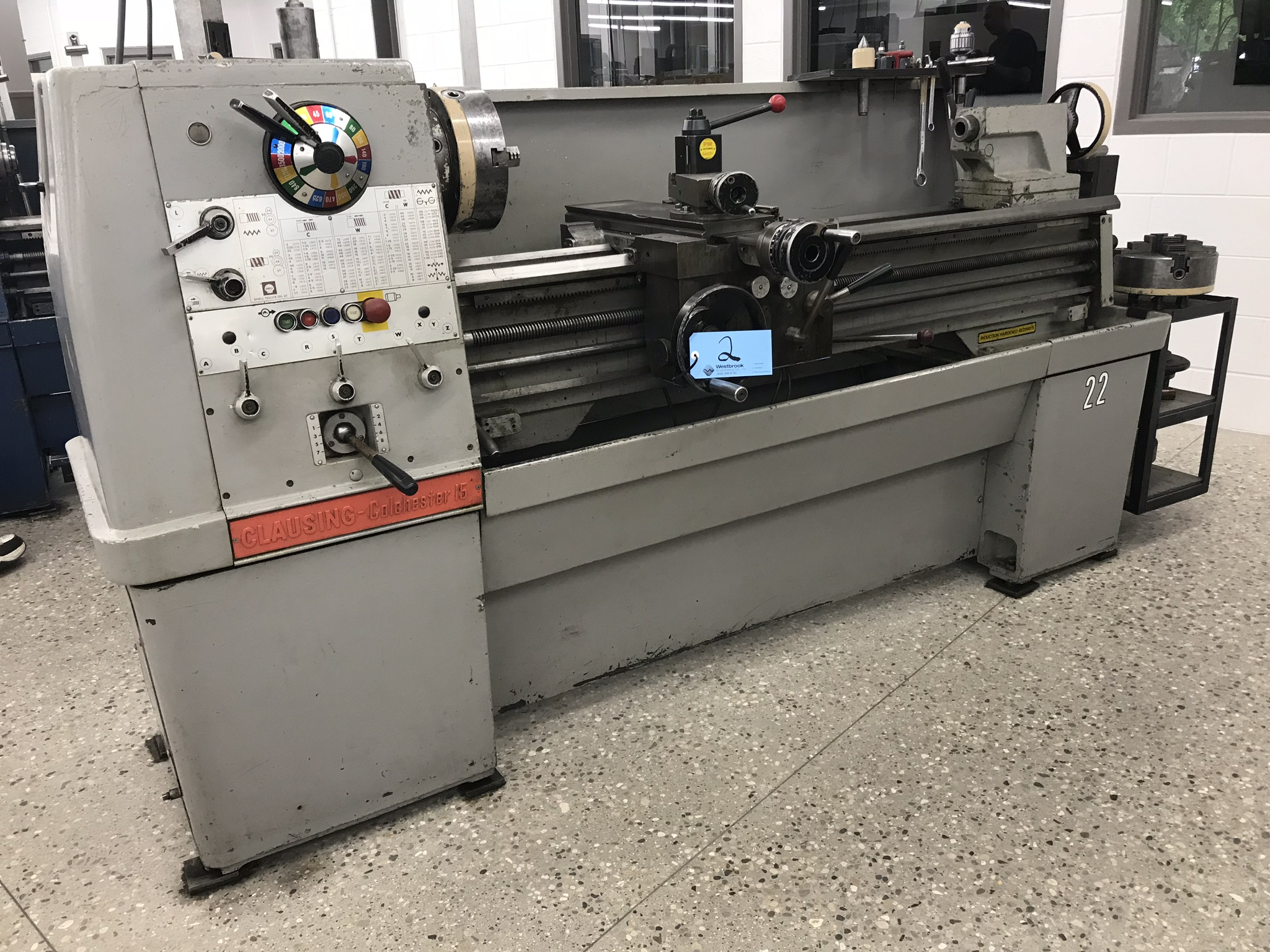 """Clausing Colchester 15"""" x 50"""" Toolroom Lathe 10"""" 3 jaw,10"""" 4 jaw, Aloris tool post, Collet Chuck,DRO"""