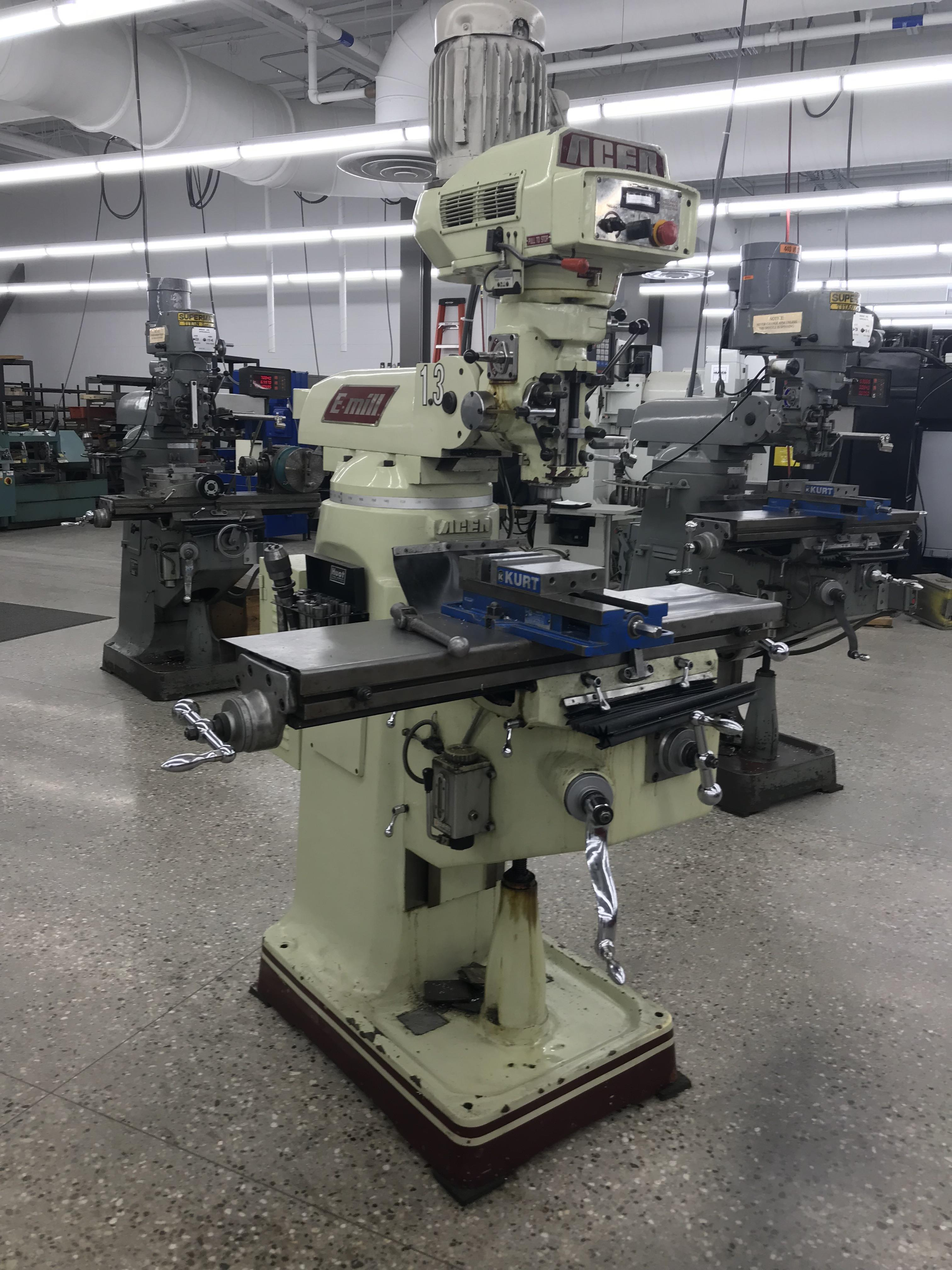 """Acer Vertical Milling Machine Model EVS-3VS, 9"""" x 42"""" Table, Newall DRO, Collets, 60-4500 RPM"""
