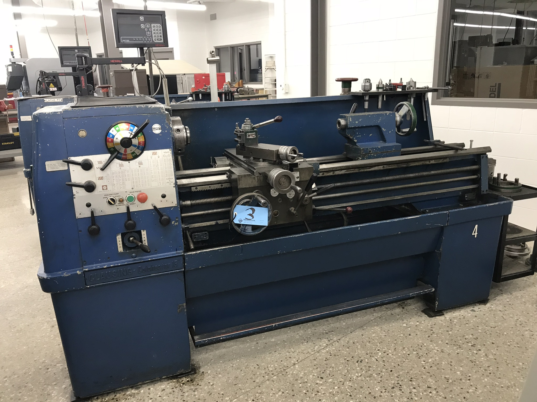 "Clausing Colchester 15"" x 50"" Toolroom Lathe  8"" 3 jaw, 10"" 4 jaw, Collet set, Aloris Tool Post, DRO"