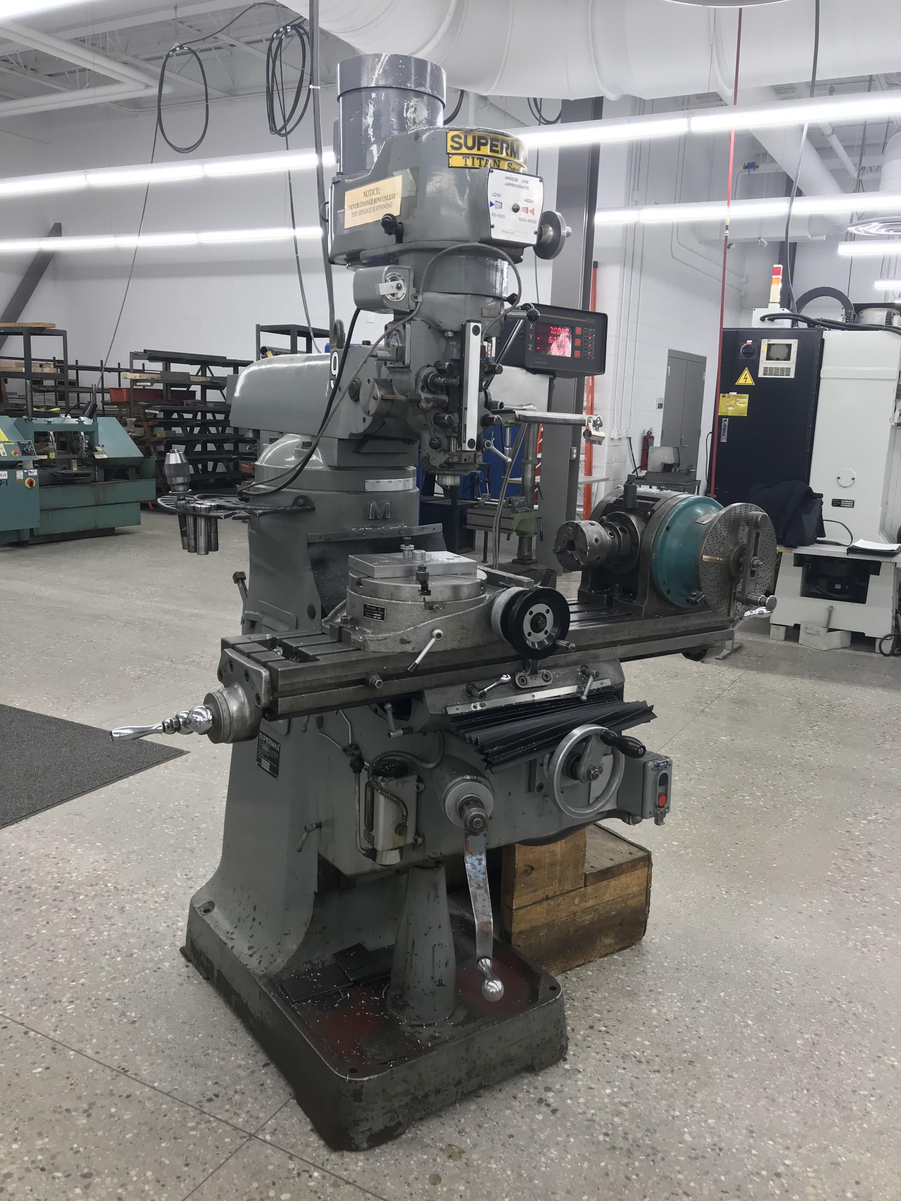 "Supermax Titan Series Vertical Mill Model YO-1.5VS-T, 9"" x 42"" Table Sargon 3- Axis DRO, Collets,"