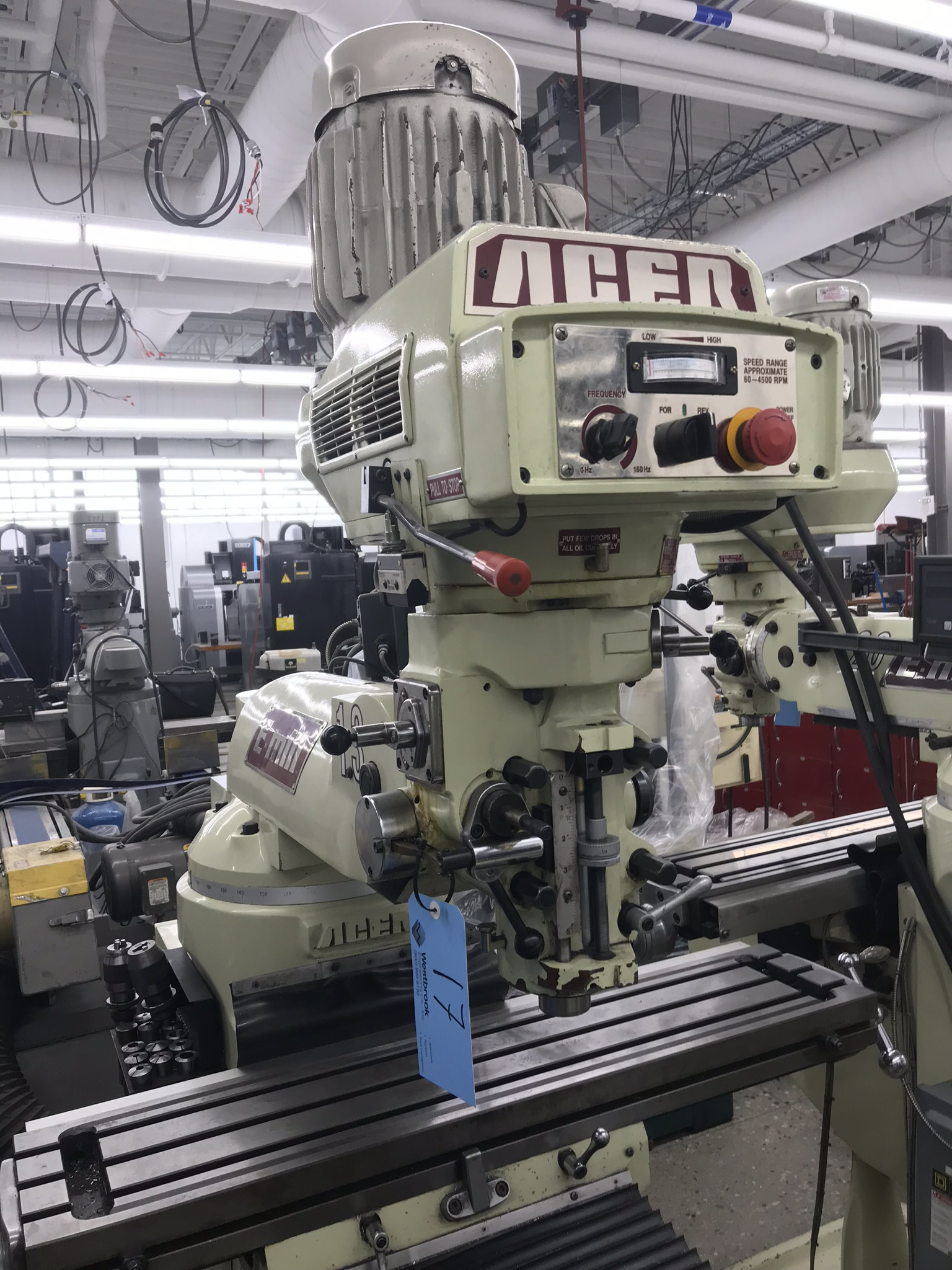 """Acer Vertical Milling Machine Model EVS-3VS, 9"""" x 42"""" Table, Newall DRO, Collets, 60-4500 RPM - Image 2 of 5"""