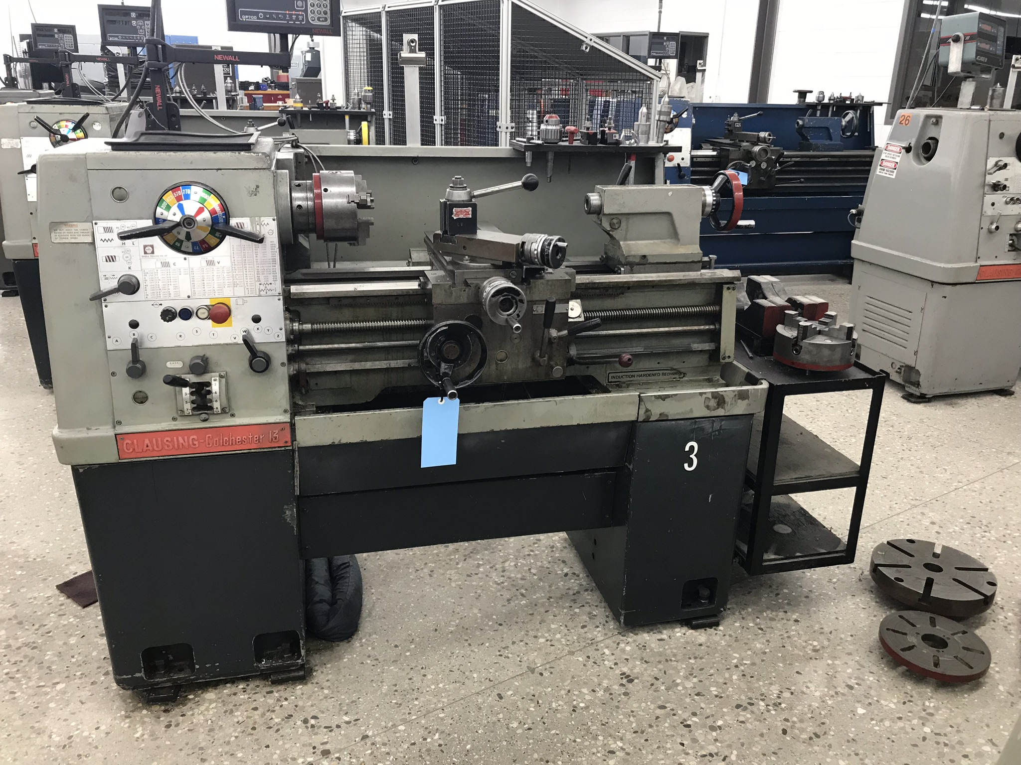 "Clausing Colchester 13"" x 25"" Toolroom Lathe 6"" 3 jaw, 8"" 4 jaw, Aloris Tool Post, DRO, Face Plates"