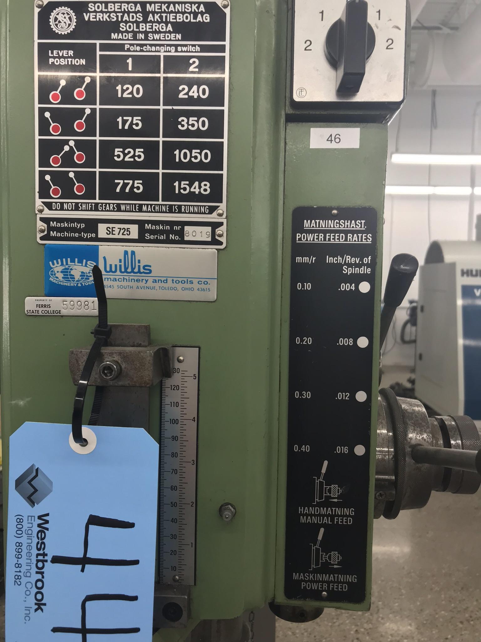 "Solberga 22""Geared Head Drill Press Model # SE 725, Serial # 8019. - Image 4 of 4"