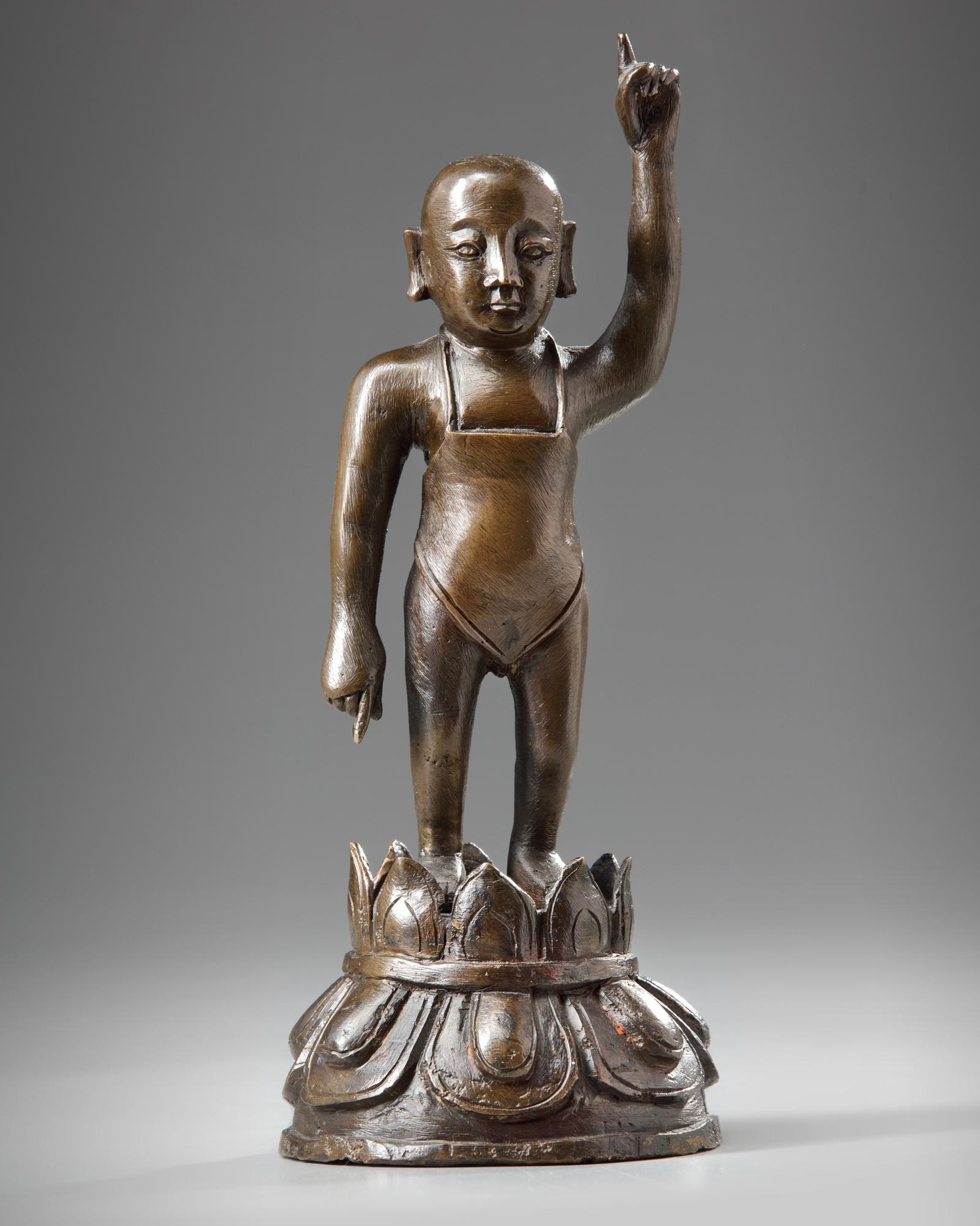 Lot 35 - A Chinese bronze figure of the boy Shakyamuni
