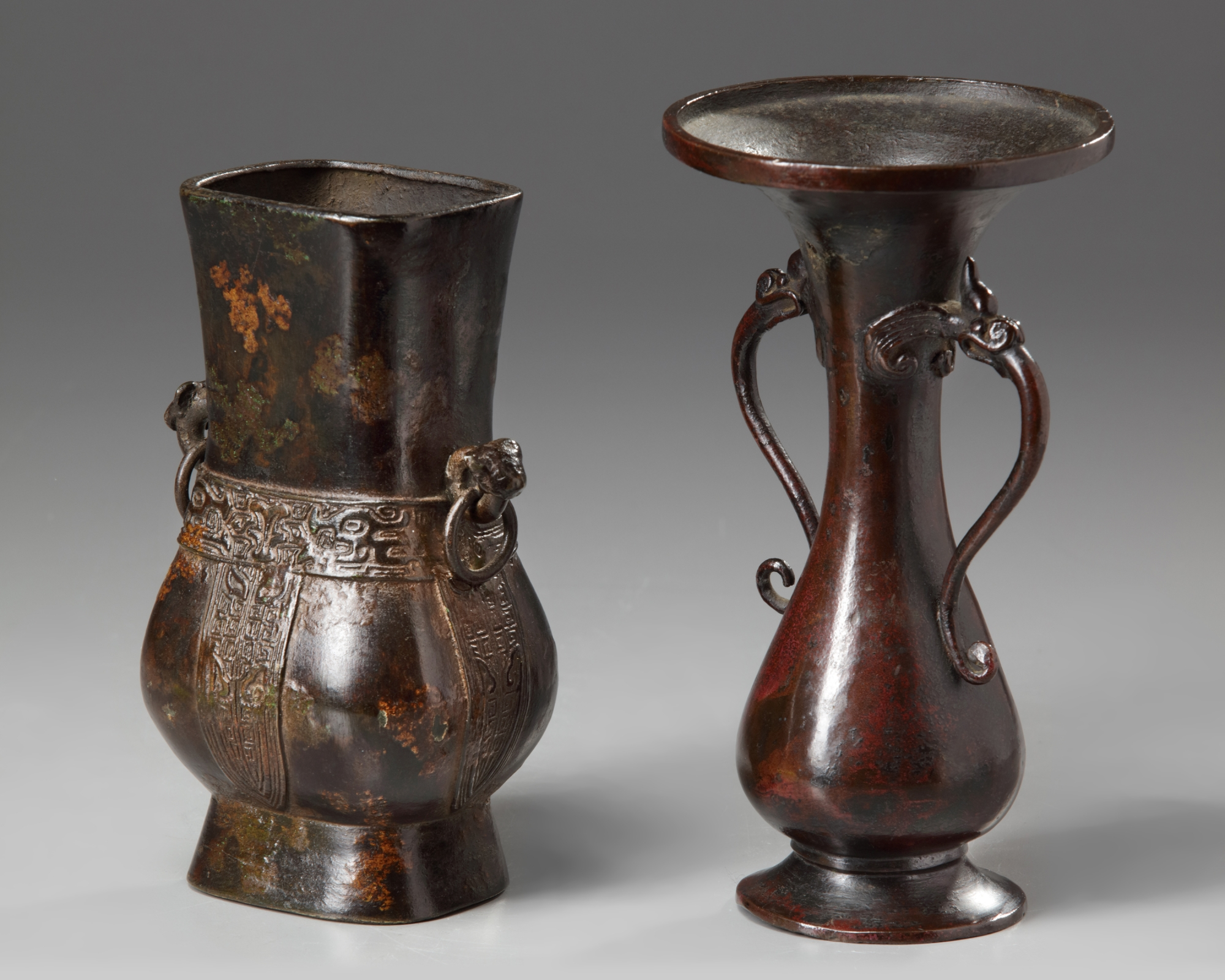 Lot 38 - Two Chinese bronze vases