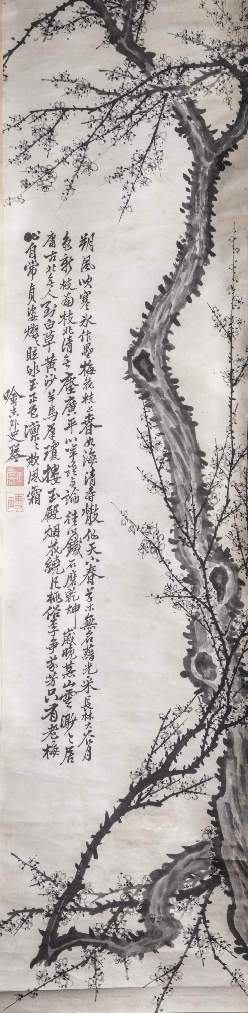 Lot 58 - A Chinese 'prunus' hanging scroll