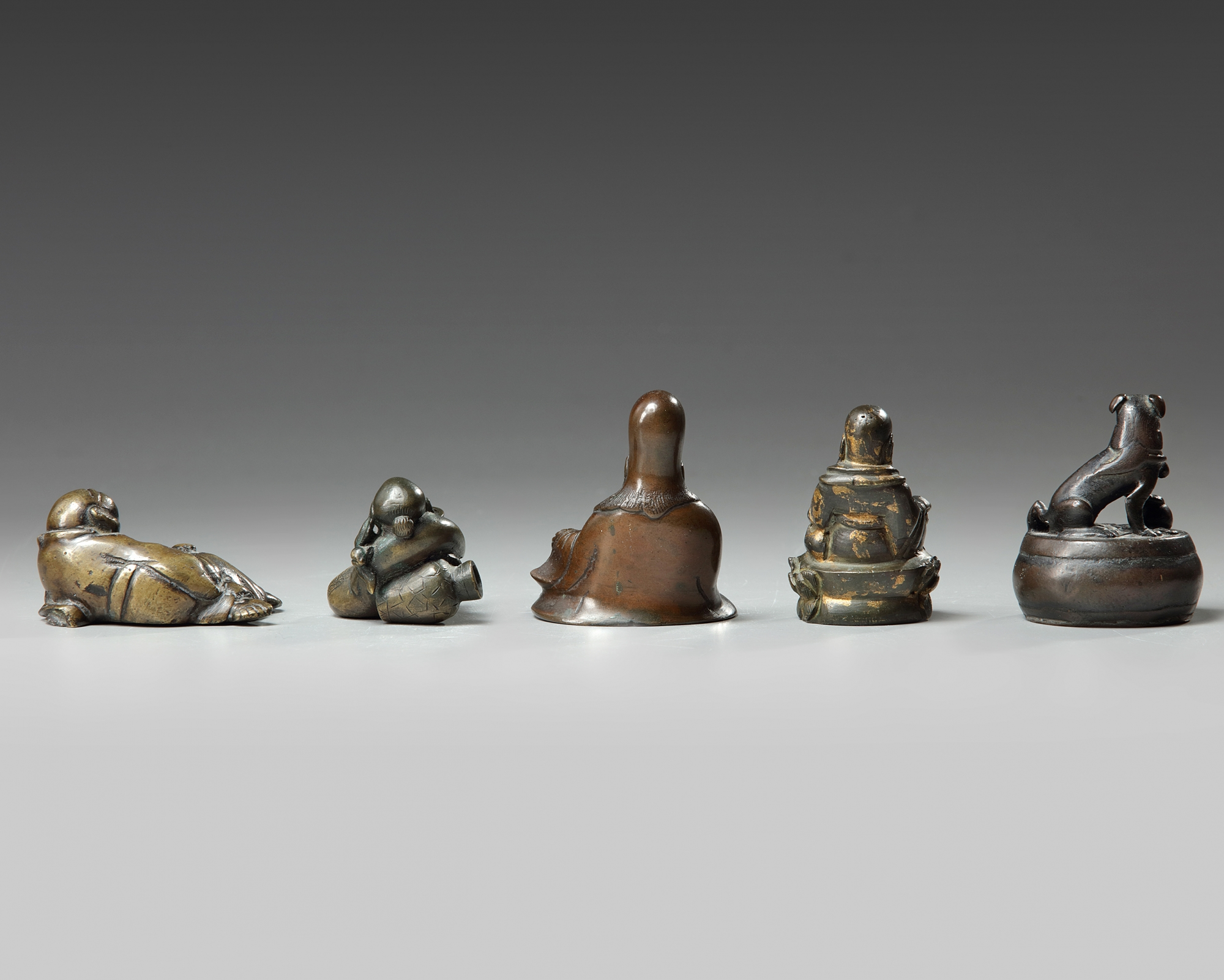 A group of five Chinese bronze scholar's items - Image 2 of 3
